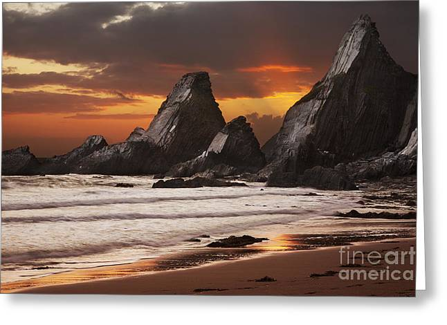 Westcombe Bay Greeting Card by Richard Garvey-Williams