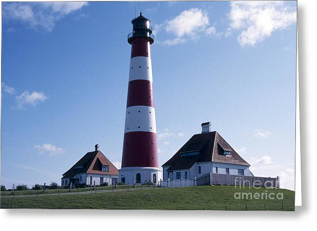 Wadden Sea Greeting Cards - Westerhever Beacon Greeting Card by Heiko Koehrer-Wagner