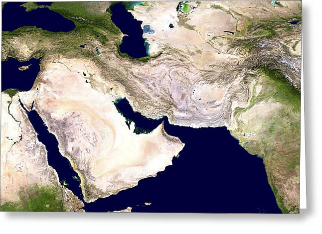 Western Asia Greeting Cards - Western Asia, Satellite Image Greeting Card by Nasa