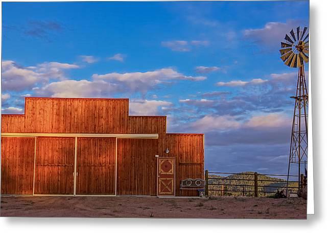 Western Barn Greeting Card by Mike Hendren