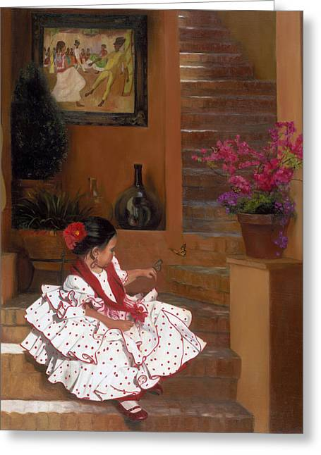 Mexican Culture Greeting Cards - Western Grace of Good Cheer    Mexico    from The Three Graces of the West Greeting Card by Anna Bain