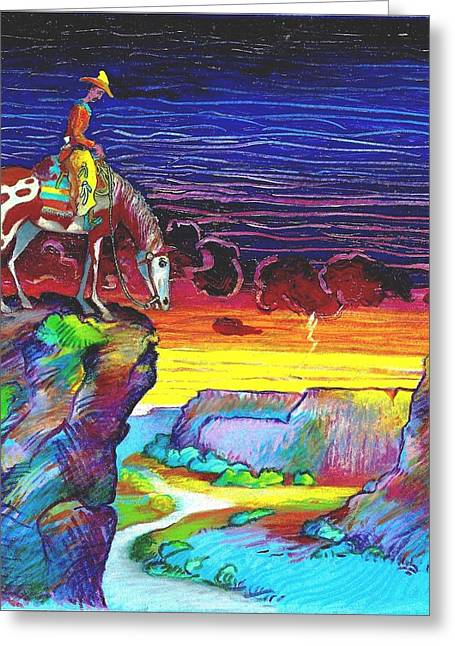 Quarter Horse Mixed Media Greeting Cards - Western Grand View Greeting Card by Rob M Harper