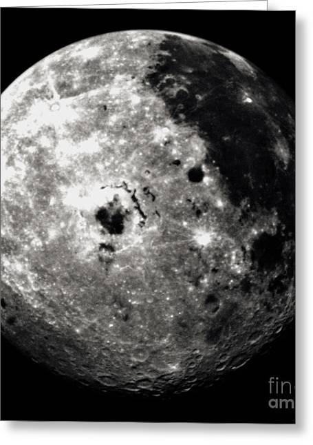 Oceanus Procellarum Greeting Cards - Western Hemisphere Of Moon From Galileo Greeting Card by NASA / Science Source