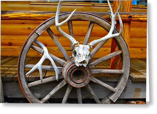 Wooden Wheels Greeting Cards - Western Influences Greeting Card by Dorota Nowak
