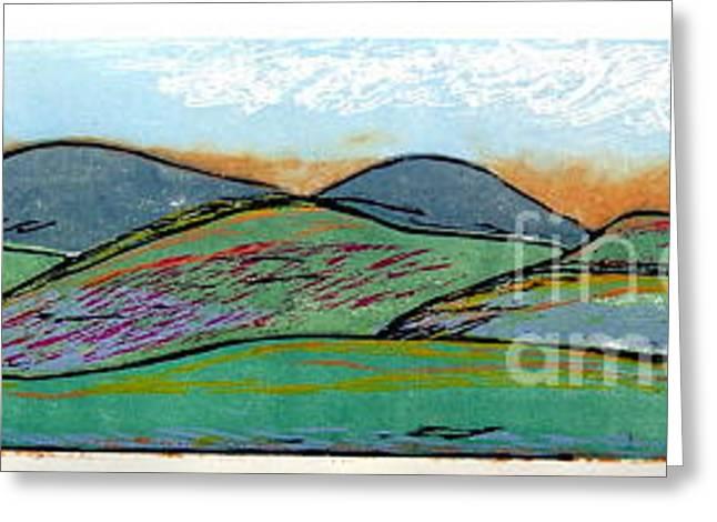 Printmaking Greeting Cards - Western Landscape Greeting Card by Andrew Jagniecki