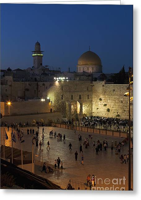 Omar Sharif Greeting Cards - Western Wailing Wall Greeting Card by Roberto Morgenthaler