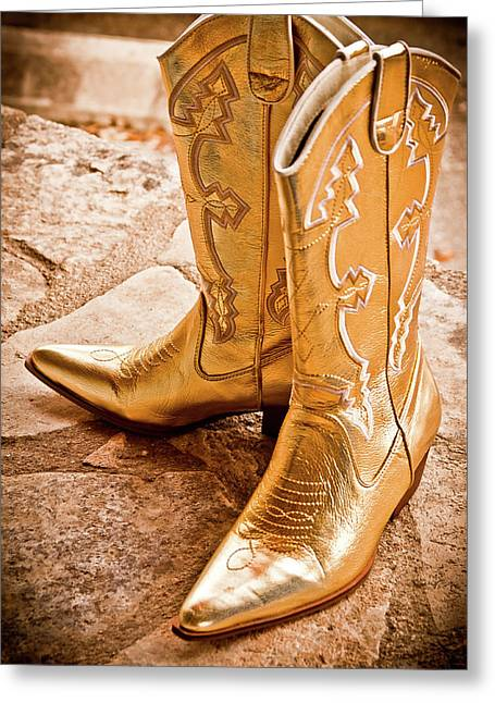 Gold Lame Greeting Cards - Western Wear Greeting Card by Jill Smith