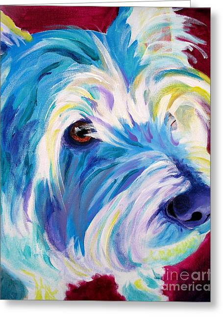 Alicia Vannoy Call Paintings Greeting Cards - Westie - That Look Greeting Card by Alicia VanNoy Call