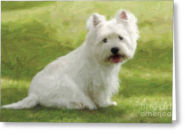 Westie Digital Art Greeting Cards - Westie dog Greeting Card by Nitiphol Purnariksha