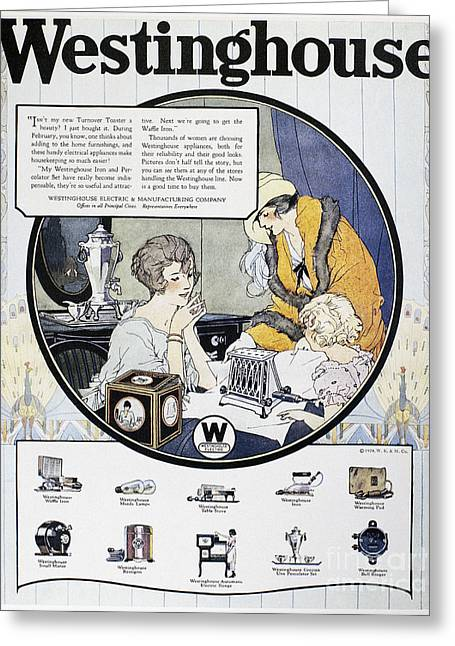 Westinghouse Ad, 1924 Greeting Card by Granger