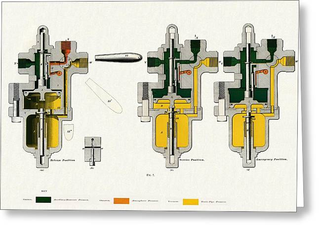 Air Component Greeting Cards - Westinghouse Air Brake Plain Triple Valve Greeting Card by Sheila Terry