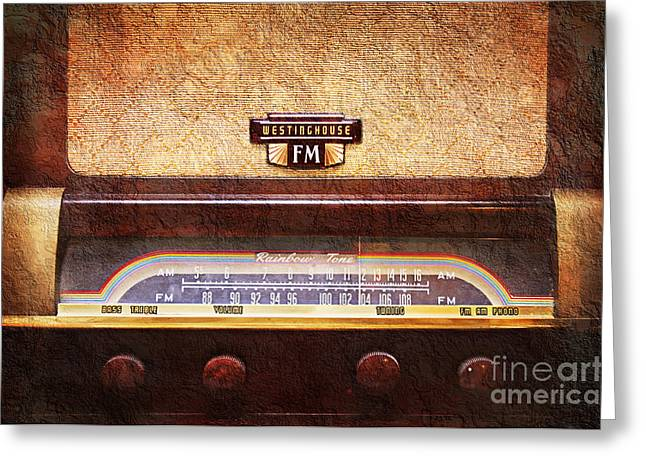Transmitter Greeting Cards - Westinghouse FM Rainbow Tone Radio Greeting Card by Andee Design