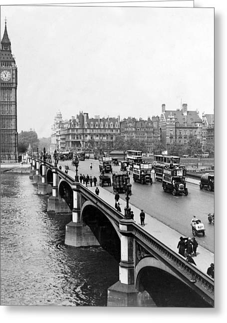 Famous Bridge Greeting Cards - Westminster Bridge and Clock Tower in London - England - c 1926 Greeting Card by International  Images