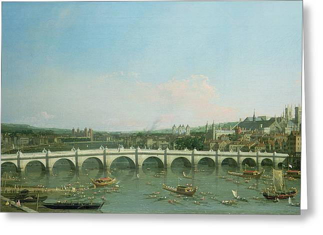 Giovanni Greeting Cards - Westminster Bridge from the North with Lambeth Palace in distance Greeting Card by Canaletto