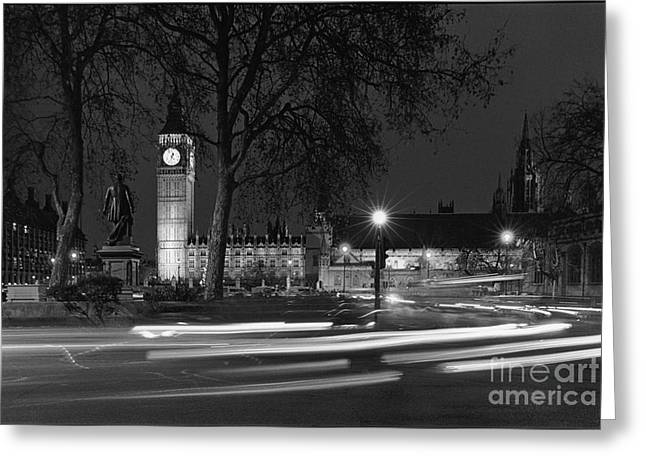 Westminster Night Traffic  Greeting Card by Aldo Cervato