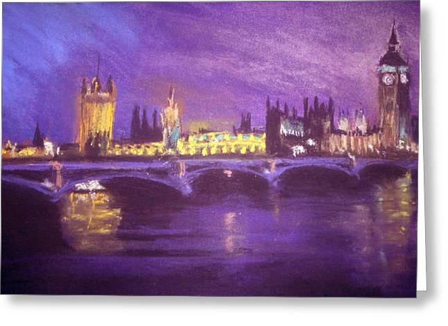 London Pastels Greeting Cards - Westminster Purple Greeting Card by Paul Mitchell