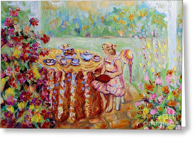 Tea For Two Greeting Cards - Westmount Garden Montreal City Scene Greeting Card by Carole Spandau