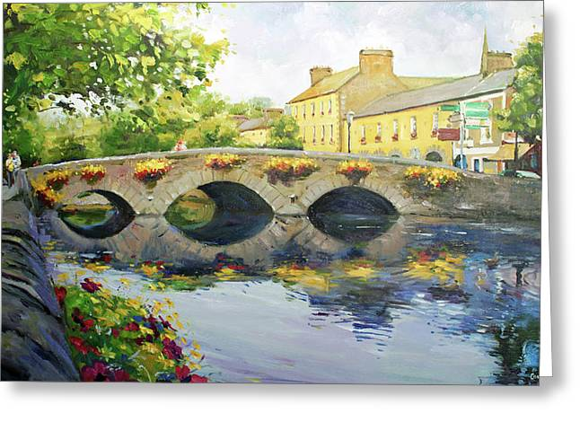 Stone Paintings Greeting Cards - Westport Bridge County Mayo Greeting Card by Conor McGuire