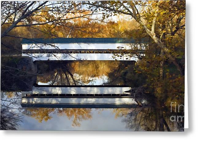 Rural Indiana Digital Art Greeting Cards - Westport Covered Bridge - D007831a Greeting Card by Daniel Dempster