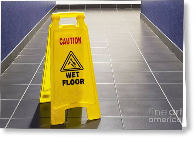 Wet Floor Greeting Cards - Wet Floor Sign Greeting Card by Andersen Ross