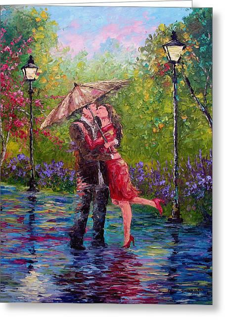 Umbrella Greeting Cards - Wet Kiss Greeting Card by David G Paul