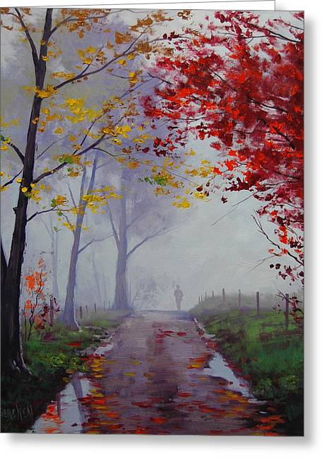 Fall Trees Greeting Cards - Wet Misty Day Greeting Card by Graham Gercken