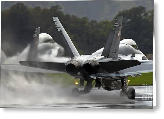 F-18 Greeting Cards - Wet Take off Greeting Card by Angel  Tarantella