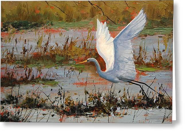Lake Paintings Greeting Cards - Wetland Heron Greeting Card by Graham Gercken