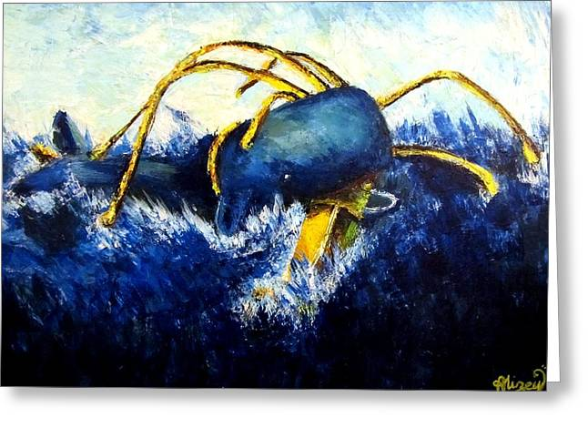 Turbulent Blue Skies Paintings Greeting Cards - Whale VS Colossal Squid Greeting Card by Alizey Khan