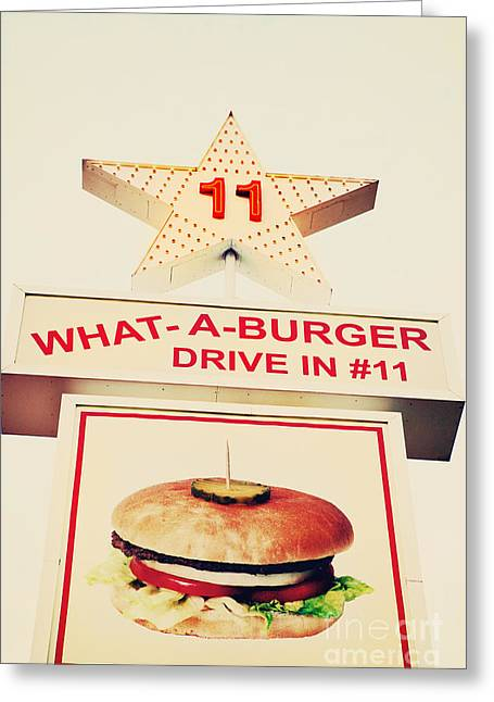 Hamburger Greeting Cards - What A Burger Greeting Card by Kim Fearheiley