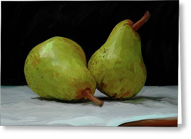 Green Pear Greeting Cards - What a Pair Greeting Card by Patti Siehien