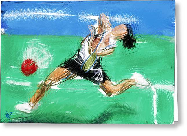 Sneaker Mixed Media Greeting Cards - What a racket Greeting Card by Russell Pierce