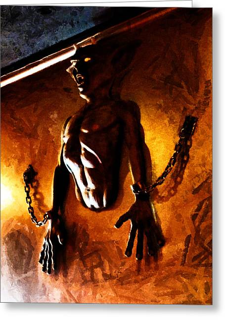Manacles Greeting Cards - What are you hiding in your basement? Greeting Card by Steve Taylor
