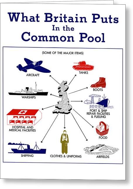 Wwii Greeting Cards - What Britain Puts In The Common Pool Greeting Card by War Is Hell Store