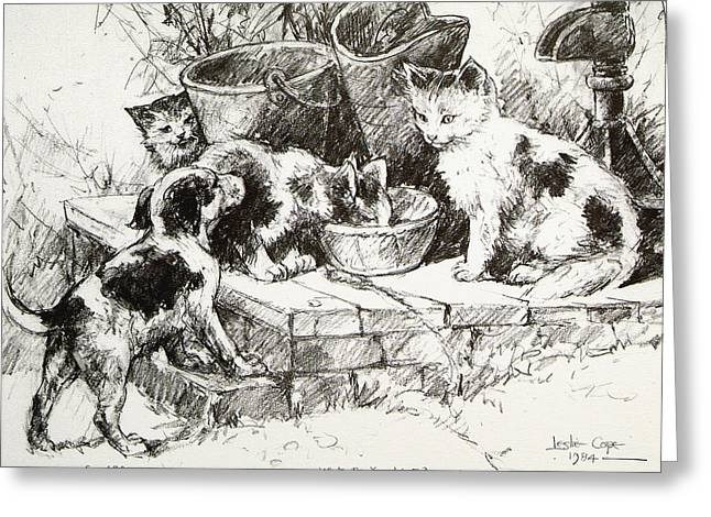 Puppies Drawings Greeting Cards - What do you want Greeting Card by Leslie Cope