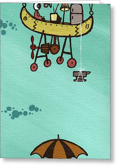"""hot Air Balloon"" Greeting Cards - What Goes Up.... Greeting Card by Dan Keough"