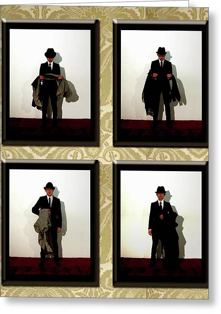 Recently Sold -  - Man Dressed In Black Greeting Cards - What happened to her Greeting Card by Ema Ishii