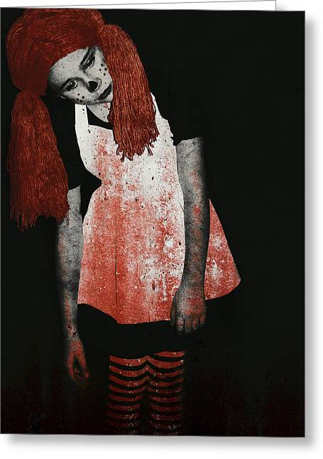 Undead Greeting Cards - What is Black and White and Red All Over - Zombie Raggedy Ann Greeting Card by Lisa Knechtel
