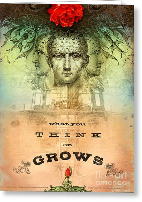 Head Digital Art Greeting Cards - What You Think on Grows Greeting Card by Silas Toball