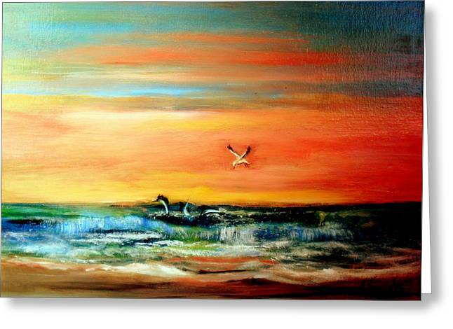 Tern Mixed Media Greeting Cards - Whats For Dinner Greeting Card by Judith Allison
