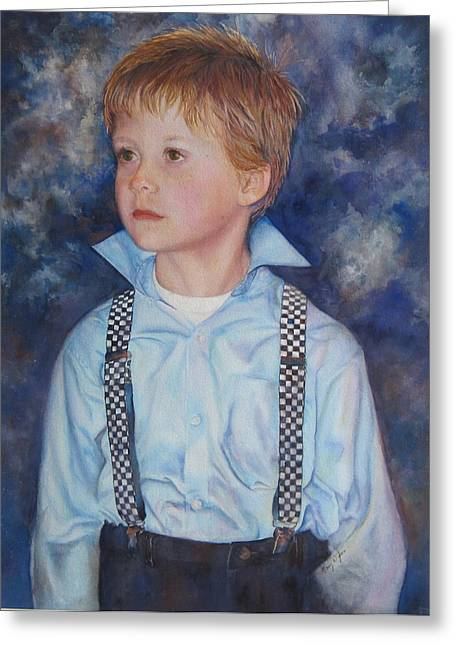 Suspenders Greeting Cards - Blue Boy Greeting Card by Mary Wykes