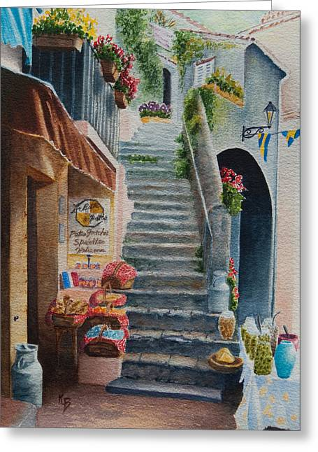 Provence Village Greeting Cards - Whats Up Greeting Card by Karen Fleschler