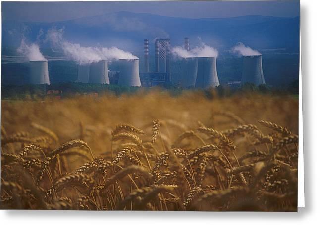 Wheat Fields And Coal Burning Power Greeting Card by David Nunuk