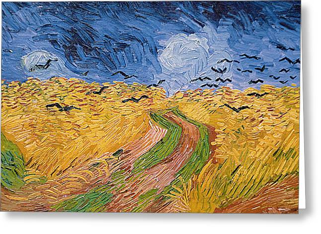 Flock Greeting Cards - Wheatfield with Crows Greeting Card by Vincent van Gogh