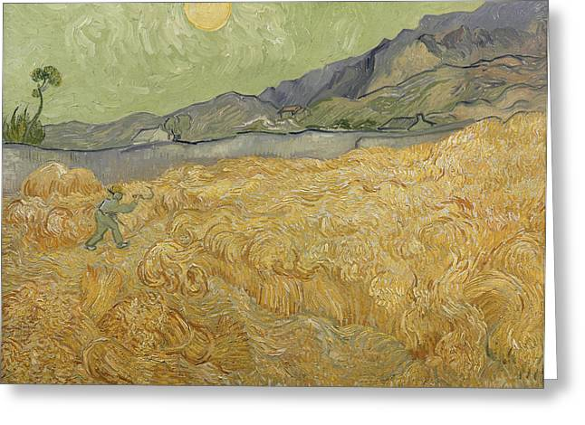Harvesting Greeting Cards - Wheatfield with Reaper Greeting Card by Vincent Van Gogh