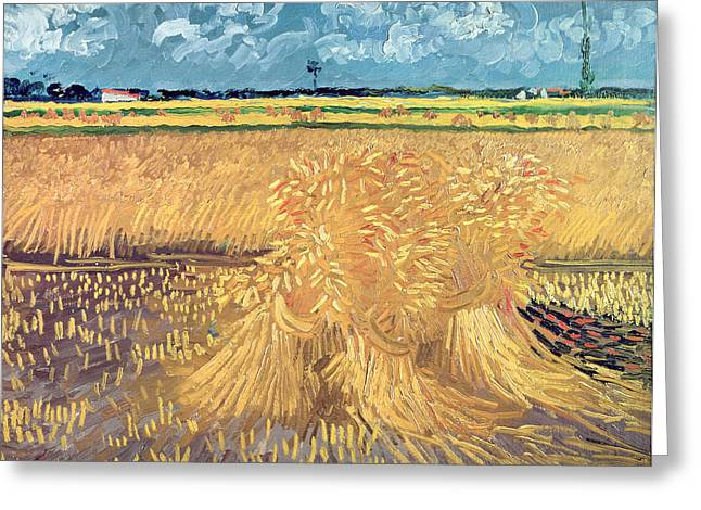 Crops Paintings Greeting Cards - Wheatfield with Sheaves Greeting Card by Vincent van Gogh