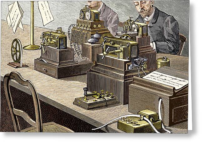Transmit Messages Greeting Cards - Wheatstone Telegraph System Greeting Card by Sheila Terry