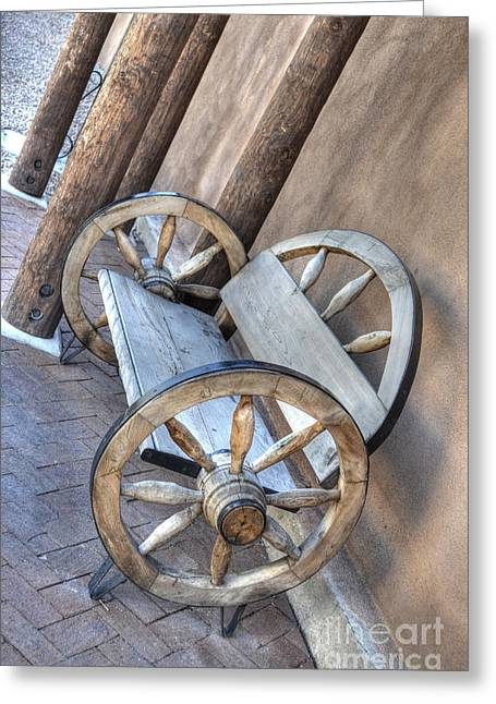 Old Western Photos Greeting Cards - Wheel Bench Greeting Card by Donna Van Vlack