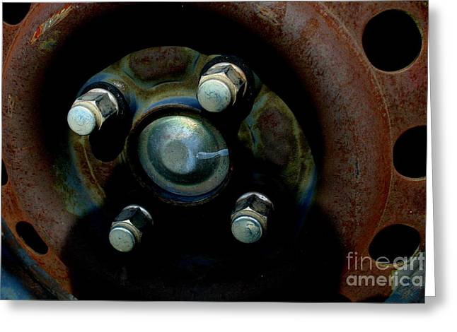 Metal Tires Greeting Cards - Wheel - IMG4510 Greeting Card by Wingsdomain Art and Photography