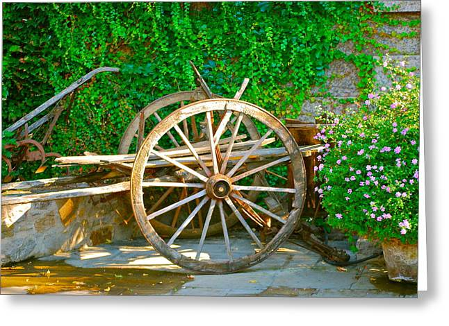 Wooden Wheels Greeting Cards - Wheel of Happiness Greeting Card by Dorota Nowak